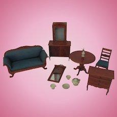 "Antique German Dollhouse Regency Style Furniture Set Large 1"" Scale"
