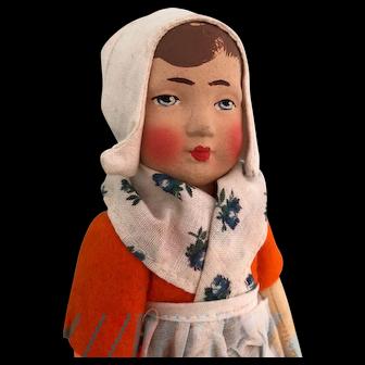 "Pre-1932 Adorable Gebruder Bing Brothers Art Little Dutch Girl Doll Germany 8"""