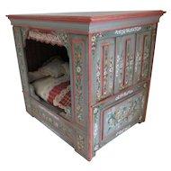 Artist Made Scandinavian Folk Painted Cabinet Dollhouse Bed 1:12