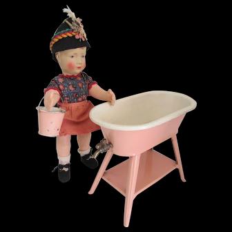 Antique German Pink Enamel Tin Doll Bath Tub and Pail
