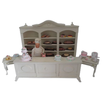 Group of Vintage and Artist Made Bakery Shop Items for Dollhouse Caco Doll