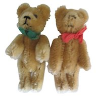 Pair of Vintage West German Schuco Golden Mohair Teddy Bears