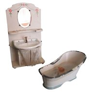 Adorable German Toilette Wash stand Sink and Tub for Dollhouse