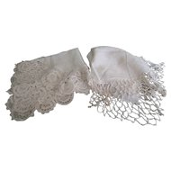 Pair of fine lace 19th century Handkerchiefs Hand sewn