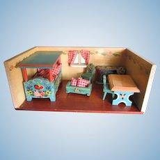 Vintage 1950's Dora Kuhn Bavarian Dollhouse Room Box