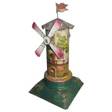 Adorable German Lithograph Tin Steam Toy Windmill