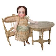 1920's Paul Leonhardt Germany Dollhouse Settee and Marble Top Table