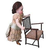 Antique Hand Carved Walnut Dollhouse Chair from Germany