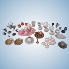 Large Lot of German & French Dollhouse Tea sets & Dishes Limoges Erhard Sohne