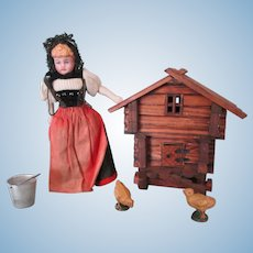 Antique German Bisque Dollhouse Doll with Swiss Wooden Chick Coop and Chicks