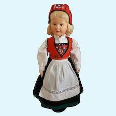 "Wonderful 16"" Ronnaug Petterssen Cloth Doll Norway"