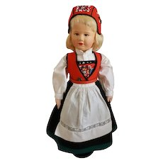 "Wonderful 16"" Ronnaug Petterssen Cloth Doll Norway"