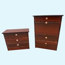 19th Century German Dollhouse Desk and Dresser Biedermeier