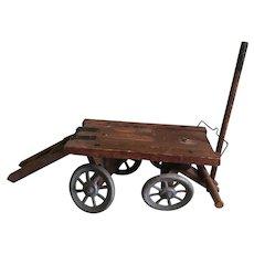 Antique Moritz Gottschalk Factory Original Wooden Wagon for Stable, Warehouse, or Barn