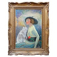 Jean Micas, Manequin Mode, Vintage Oil Painting, Cats