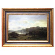 Henry Pember Smith, American Landscape With Lake, Antique 19th Century Homestead