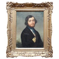 Portrait Of A Gentleman With A White Glove, Original Antique Oil Painting, 19th Century