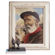 Portrait Of A Dutch Fisherman With A Red Scarf, Vintage Portrait, Painting