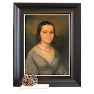 Portrait Of A Lady With A Coral Necklace, Original Antique Oil Painting, French
