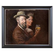 Hans Wohlrab, Portrait Of A Gentleman With A Lady, Drinking, Oil Painting