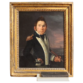 Attr. Richard Livesay, Portrait Of A British Royal Navy Lieutenant, Original Antique Naval Painting