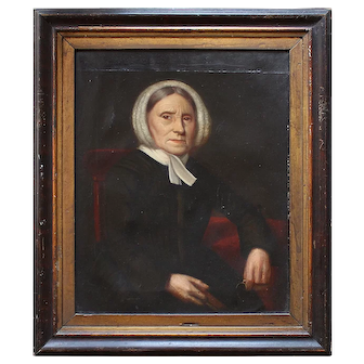 Portrait Of A Female Quaker Holding Spectacles, Naive Antique Painting, Folk Art
