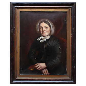 Portrait Of A Female Quaker With A Book, Antique Painting, Naive, Folk Art