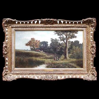 Abraham Hulk Junior, View Near Arundel, Sussex, Antique English Landscape Oil Painting
