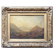 English School Mountainous Landscape With Figures, Antique Oil Painting