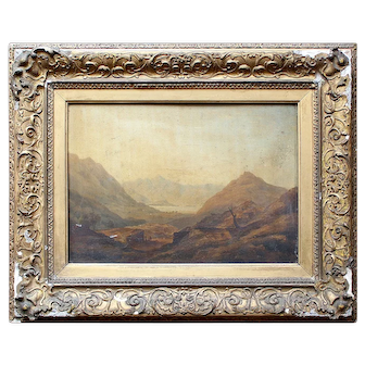 English School Mountainous Landscape With Figures, Antique Oil Painting