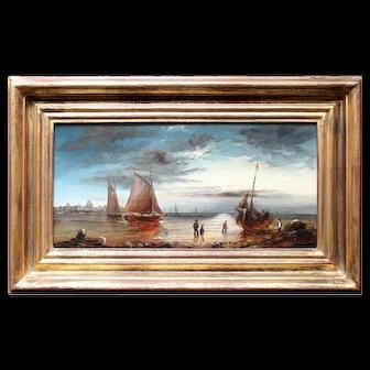 Shore Scene With Fishermen & Boats, Antique Coastal Painting, Ships, Beach