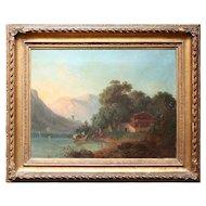 Helen Milde, Mountainous Landscape With Fjord, Antique Scandinavian Oil Painting