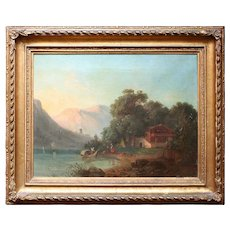 Helen Milde, Mountainous Landscape With Fjord, Antique Scandinavian Oil Painting