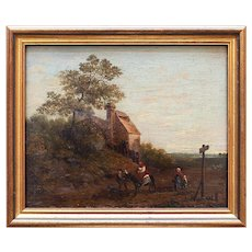19th Century Dutch School, Figures & Rider On Country Lane