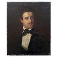 Continental Portrait Of A Gentleman With A Black Bow Tie, Antique Oil Painting