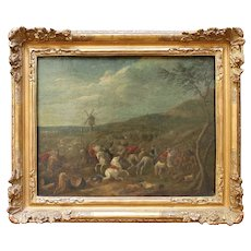 18th-Century Battle Scene With Windmill, Antique Oil Painting