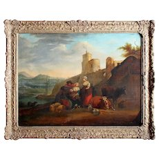 18th-Century Classical Landscape With Peasant Family, Antique Oil Painting