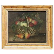 Italian Still Life With Apples, Berries & Pears, Antique Oil Painting