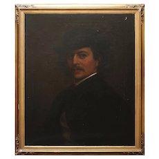 Dark Portrait Of A Gentleman With A 'Pork Pie' Hat, 1920s Oil Painting