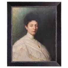Continental Portrait Of A Lady In A White Lace Blouse, Antique French Oil Painting