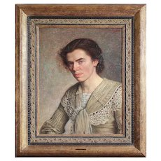 Maurice Jean Lefebvre, Portrait Of A Lady, Original Antique Oil Painting