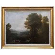 Pastoral Landscape With River View, Antique Oil Painting