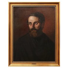 Anders Christian Lunde, Self Portrait, c.1845, Antique Oil Painting