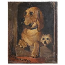 After Sir Edwin Landseer, Dignity & Impudence, Antique English Oil Painting, Dogs, Victorian