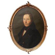 Continental Portrait Of A Gentleman, Antique Oil Painting