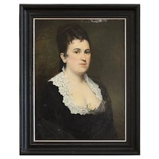 Jean Baptiste Discart, Large Portrait Of A Lady With A Yellow Rose, Original Antique Oil Painting