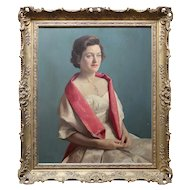 Portrait Of Betty Bell, Vintage Mid-Century British Oil Painting
