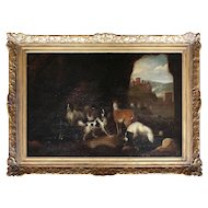 18th-Century Hunting Dogs In A Cave, Antique Oil Painting