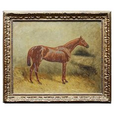 Karl Georg Arsenius, Portrait Of A Chestnut Horse, Antique Equestrian Oil Painting
