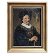 Portrait Of A 16th-Century Scandinavian Nobleman, Antique Oil On Panel